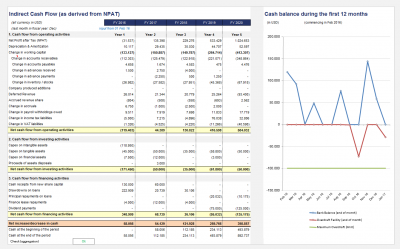 Cash Flow (indirect method) and Cash balance end of first 12 months