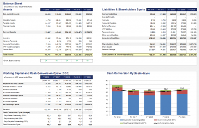 Balance Sheet (condensed), Working Capital & Cash Conversion Cycle