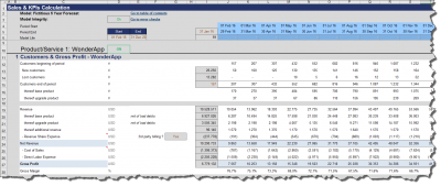 Product specific KPIs (Customer metrics, gross profit etc.)